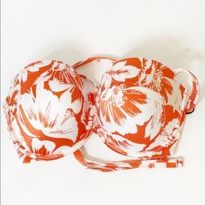 Shade & Shore Orange Floral Cup Bra 36DD